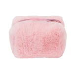 PINK FABULUXE FUR COSMETIC BAG  - INCLUDES EMBROIDERY