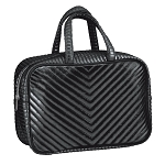 Black Chevron Quilted Metallic Large Cosmetic Bag
