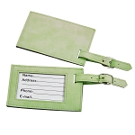 Lime Green Leatherette Luggage Tag, 4.375