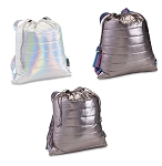 Metallic Puffer Sling Backpack Bags w/ Decorative Straps