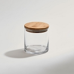 Glass Jar with Bamboo Wood Cover, Small 4.25