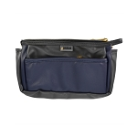 ELESAC Faux Leather Multi Pocket Pencil Case (Charcoal Gray/Navy)