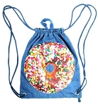 Denim Donut Drawstring Sling Camp Bag