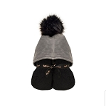 Pompom Hooded Towel (Black & Grey)