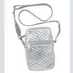 Silver Chevron Quilted Metallic Cell Bag