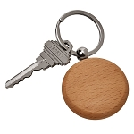 Round Wood Key Chain, 1.75