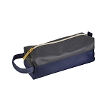 ELESAC Faux Leather Pencil Case (Charcoal Gray/Navy)