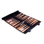 Suede Roll-Up Backgammon Travel Set (Navy)