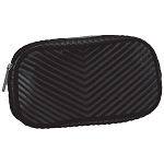 Black Chevron Quilted Metallic Small Cosmetic Bag