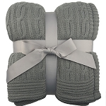 Cable Knit Blanket (Gray)