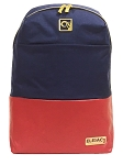 ELESAC 16.5 inch backpack for school, camp, travel, water resistant with Leather Bottom (Navy/Red)
