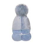 Pompom Hooded Towel (Blue)