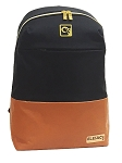ELESAC 16.5 inch backpack for school, camp, travel, water resistant with Leather Bottom (Black/Brown)