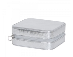 Luna Faux Leather Travel Jewelry Case Square Shape (Silver)