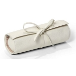 Carrie Genuine Pebble Grain Leather Jewelry Roll Travel Case (White)