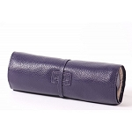 Carrie Genuine Pebble Grain Leather Jewelry Roll Travel Case (Purple)