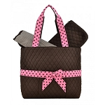 Quilted 3PC Diaper Bag :Brown/Pink
