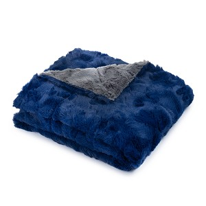 MICO BLUE GREY FAUX FUR BABY BLANKET