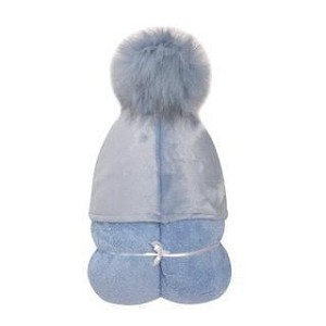 Pompom Hooded Towel (Blue) INCLUDES EMBROIDERY