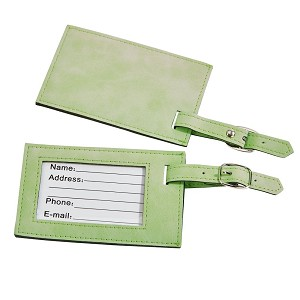 "Lime Green Leatherette Luggage Tag, 4.375"" x 2.75"""
